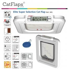 Cat Mate Elite 4 Way Locking Super Selective Cat Flap - White